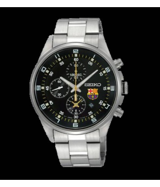 Reloj Seiko Futbol club Barcelona Caballero Metal Esfera Negra ... b671520fe20