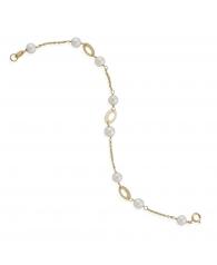 Pulsera Oro ovalos con perlas