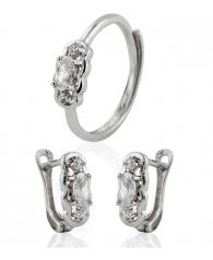 Conjunto en plata de Pendientes y anillo