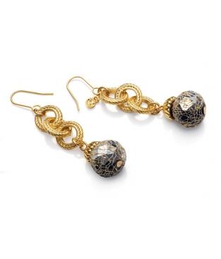 c10335fcbcfd Pendientes Viceroy Largos Eslabones dorados y bolas de cristal