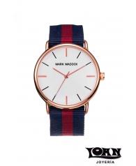 Reloj Hombre Mark Maddox Correa Loneta Azul y Granate