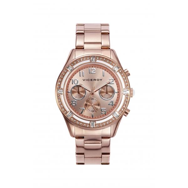 Reloj Viceroy Mujer Rosa Metalizado Con Circonitas 40810 95