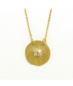 Colgante en Plata de color Dorado Circular con Circonitas