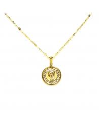 Medalla Redonda Virgen niña en Oro 18k