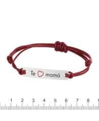 """Pulsera cuero rojo con placa rectangular """"Te quiero mamá"""""""""""